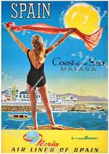 Poster Vintage Iberia español Airlines Málaga A3/A4 impresión