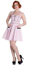Hell Bunny vanity polka dots puntos 50s retro mini vestido/dress rosa rockabilly