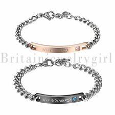 Men Women Stainless Steel His Crazy Her Weirdo Lovers Couple Promsie Bracelet