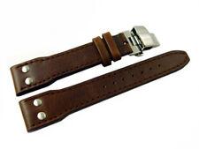 Uhrenband mit Butterfly - Vintage - glatt - dunkelbraun - 2 Nieten - 20,22,24 mm