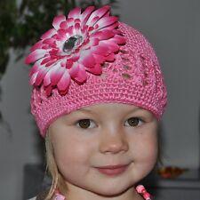 Gorra de ganchillo ROSA + flor / BLANCO bebé Algodón Clip para el pelo 2-5 Años