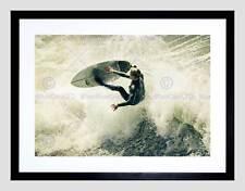 SPORT SURFING SURF SURFER SPRAY WAVE OCEAN SEA FRAMED ART PRINT MOUNT B12X13363