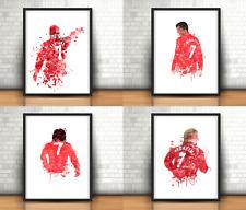 Man United Art Prints Set Of 4 Football Beckham, Best, Cantona, Ronaldo No 7's