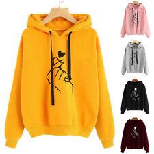 Women Loose Tops Sweatshirt Sweater Hooded Coat Long Sleeve Comfortable Printing