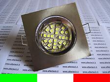 10x FARETTO LED INCASSO QUADRATO 120° GU10 BIANCO 3w 220v