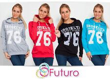 Trendy Women's Thick Warm Print Hoodie Hood Jumper Long Sleeve Size 8 - 12 8302