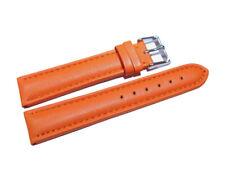Uhrenarmband echt Leder gepolstert glatt orange 18mm 20mm 22mm 24mm