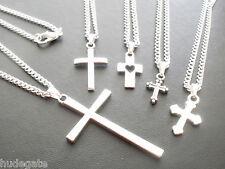 10 Chapado en Plata Collares con colgantes cruz mixto joyas al por mayor Lote de Trabajo
