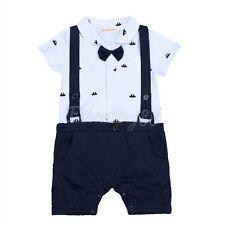 New Baby Boy Formal Tuxedo One-Piece Romper Bow Tie Vest Suit Short Sleeve 6-24M