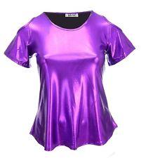 Womens 14-24 Glitzy Stretch Cut / Cold Shoulder Top Ladies Violet Pink Shock