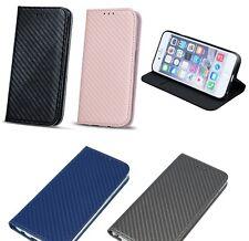 % flip plegable bolso funda book cover Apple iPhone 5c Case Smart imán Carbon
