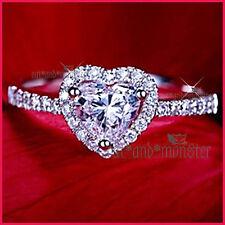18K WHITE GOLD GF SILVER LADIES GIRLS LOVE HEART CRYSTAL WEDDING DRESS RING GIFT