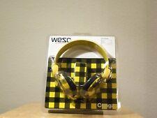 WESC CONGA YELLOW DJ STYLE HEADPHONES-DJ MP3 IPOD IPHONE JL *NEW IN PACKAGE*