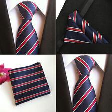 Herren Krawatte weiß Rot Streifen Navy Blau Seide Mit Taschentuch Set HZ101