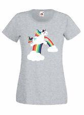 T-shirt Maglietta donna J1199 Funny Unicorn Rainbow Unicorno Fun
