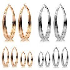 2 Glänzende Creolen Ohrringe Klappcreolen Damen Golden Silbern Hoops 40 50 60mm