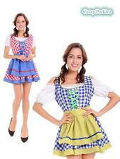 Traditional Bavarian German Leiderhosen Beer Maid Oktoberfest Costume Blue Red