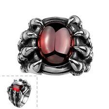 Stainless Steel Gothic Biker Tribal Ring Black Red Men's Unisex Claws B190