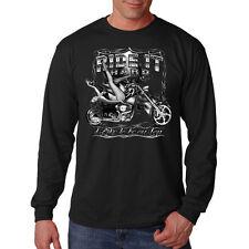 Ride It Hard Motorcycle Chopper Biker Pin Up Girl Long Sleeve T-Shirt