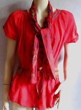 Tunique Chemise Haut P & G Coton Rouge ceinture Foulard Taille XL 42 / 44 NEUF