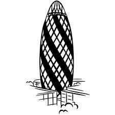 "Sticker ""Gherkin"" Gratte Ciel forme Cornichon Londres Angleterre XXL (MONU002a)"