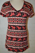 Women's Rue 21 Coral Orange Geo Elephant Stripe Short Sleeve V-Neck Top Sz S, XL
