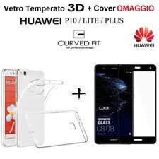 PELLICOLA VETRO TEMPERATO 3D per Huawei P10 / Lite /Plus + COVER TPU