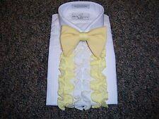 Vintage Men's Tuxedo Shirt - Yellow & White Detachable Ruffles / Dickie 3D