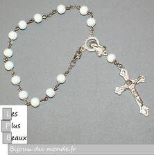 Bracelet CHAPELET CRISTIANO ROSARY BLANC perle 6mm NEUF au CHOIX