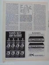 retro magazine advert 1982 ERNIE BALL / gallien kruger