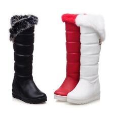 Womens Fur Trim Thick Knee High Boots Platform Wedge Heels Waterproof Snow Shoes