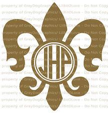 Custom Fleur De Lis Monogram Decal Your Initials 3 Letters Personalized Sticker
