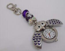 Pretty Owl Fobwatch on Beaded Key / Bag Chain