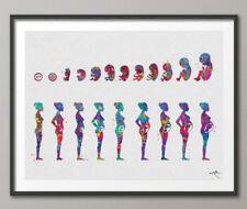 Impresión De Acuarela Bebé, embarazadas arte médica del feto embarazo etapas Ginecología