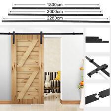 1.8M 2M  Steel Wood Sliding Barn Door Track Closet Hardware Set Black