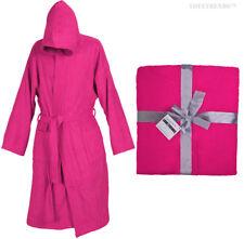 Color Rosa Con Capucha Albornoz 100% Algodón M L XL XXL Presente Regalo para Hombre Dama Vestido Bata