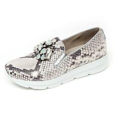 D0714 mocassino donna UNO 8 UNO 181 SIRI avorio/argento slip on shoe woman