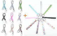 Colorful Fabric Lanyard + matching Wristlet Key Fob Key Chain