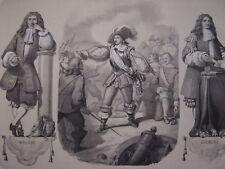 Litho Grand Condé Bataille de ROCROI  Portraits de Molière et de COLBERT