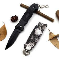 Couteau Pliant de Poche Survie Tactique Chasse Randonnée Lame Acier Tête de mort