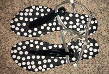 Lane Bryant Sandals T-Strap Black Polka Dot Wide 8 9 10 11 12 NWOB Store Display