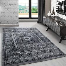 Klassiche orient Teppich Wohnzimmer,kurzflor gemustert Medaillon Barock Grau_207