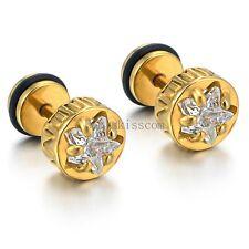 8MM Stainless Steel Shiny Pentagram Dumbbell Mens Ladies Stud Earrings One Pair