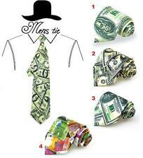 Broad Wide Tie US American Money Dollar Euro Necktie Party Cosplay Costumes