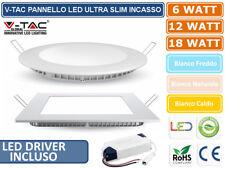 PANNELLI FARETTO LED V-TAC ULTRA SLIM 6W - 12W - 18W DA INCASSO DRIVER INCLUSO
