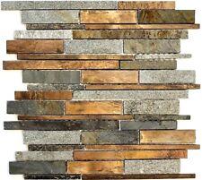 Rustikale Mosaikfliese mit Naturstein und Kupfer für Wand 47-XSK565_b|1Matte