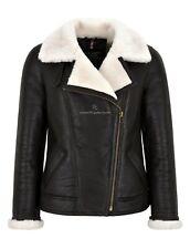 Women Sheepskin Jacket White Real Shearling Fur Pilot Warm Bomber Jacket NV-64
