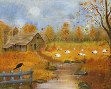 Country Seasons Sheep Barn Fall Autumn Stream Black Crow Primitive Art Print