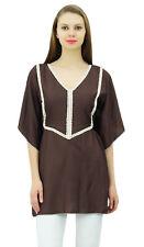 L'été des Bimba top style coton style ethnique brun caftan esprit blouse tunique