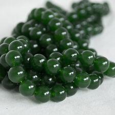 "High Quality Dark Green Jade (dyed) Semi-precious Gemstone Beads - 16"" strand"